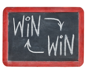 win-win concept on blackboard