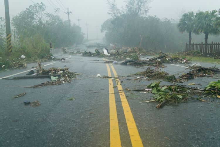Debri in road during typhoon