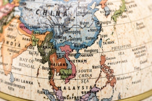 Globe East and Southeast Asia